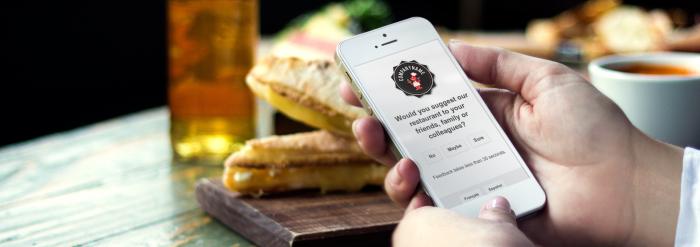 Customer answering mobile survey