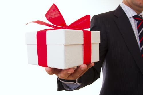 Handing a gift.